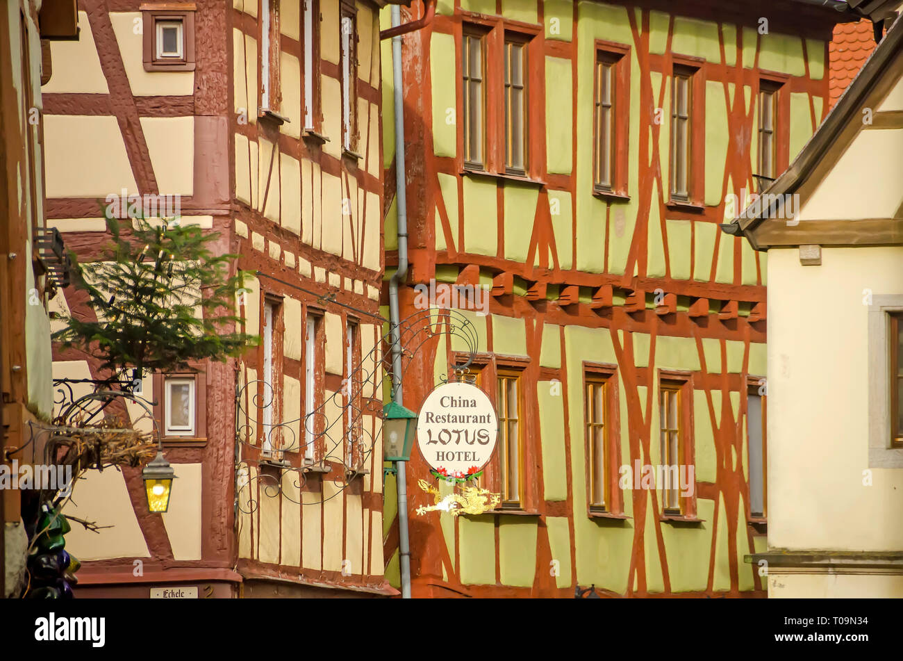 Half-timbered green hotel building  Rothenburg ob der Tauber, Germany - Stock Image