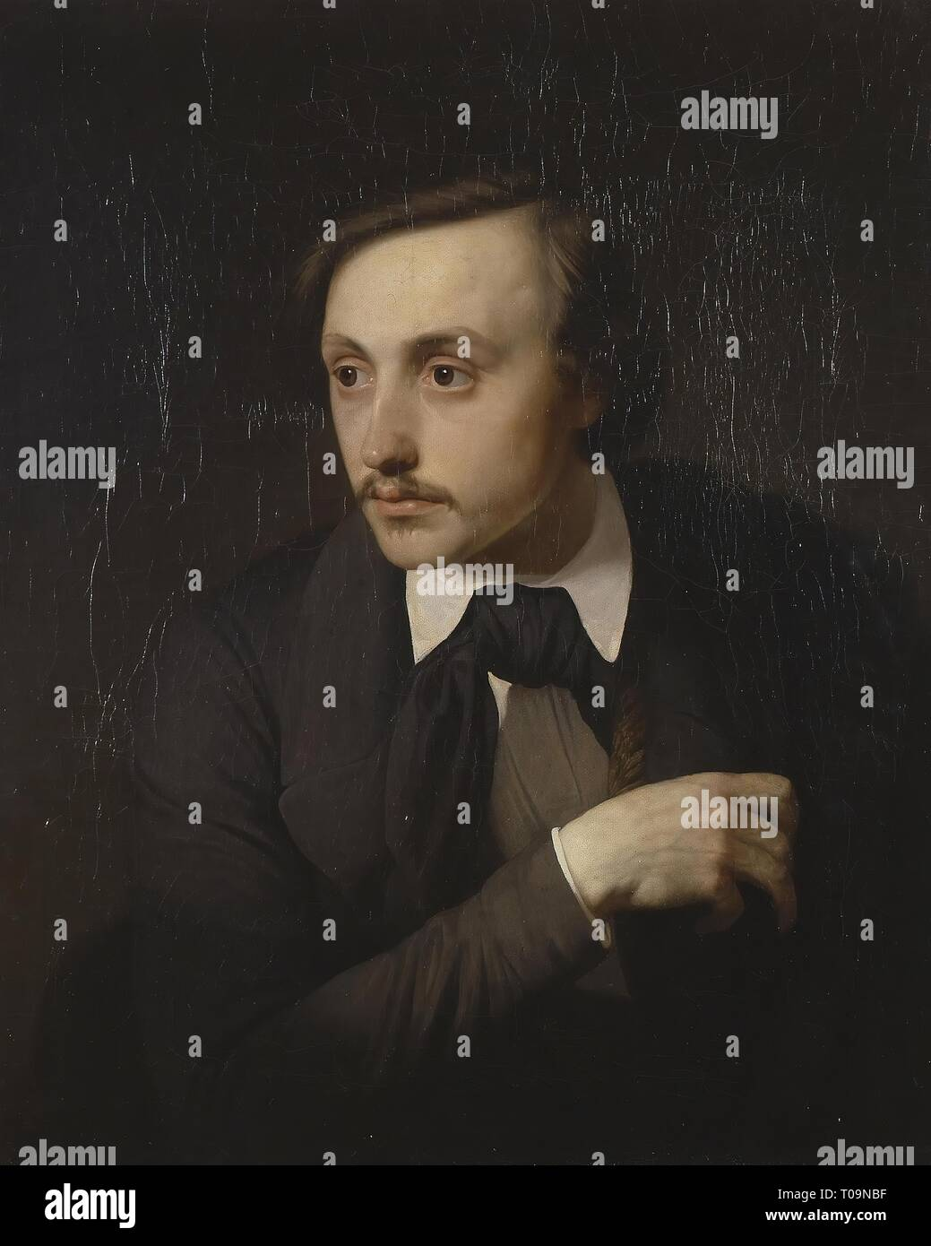 'Portrait of the Artist Ivan Sokolov'. Russia, 1849. Dimensions: 66,7x53,5 cm. Museum: State Hermitage, St. Petersburg. Author: Yakov Kapkov. Stock Photo