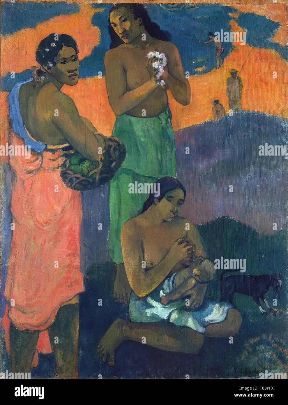 'Women on the Seashore (Motherhood)'. France, 1899. Dimensions: 95,5x73,5 cm. Museum: State Hermitage, St. Petersburg. Author: PAUL GAUGUIN . PAUL GAUGUIN. Paul Eugéne Henri Gauguin. - Stock Image