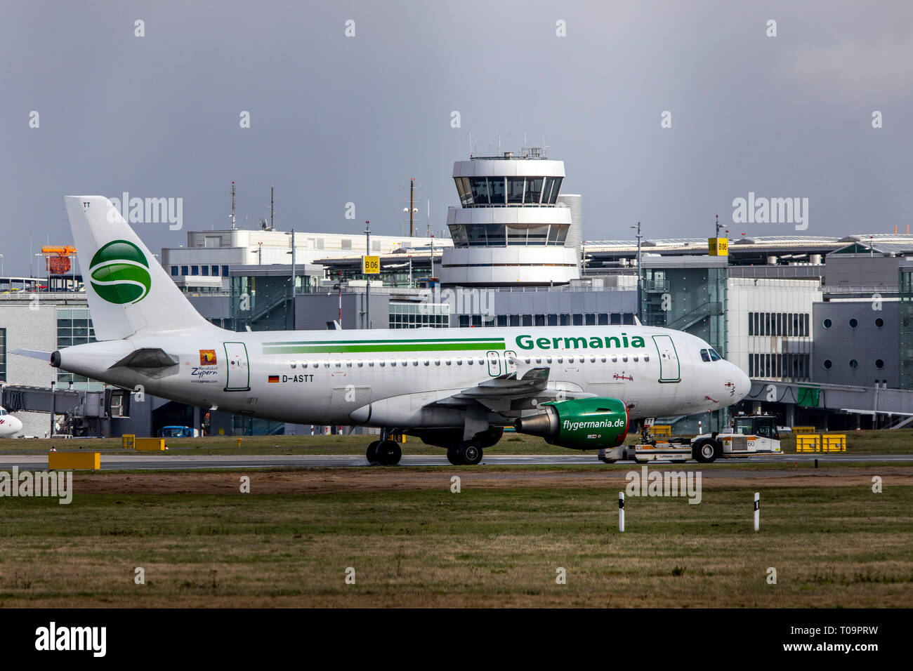 Dusseldorf International Airport, DUS, parked aircraft of the airline Germania, after the bankruptcy, - Stock Image