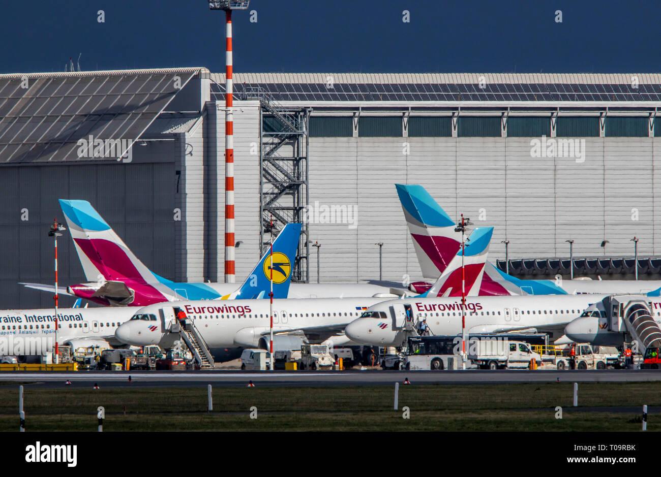 Dusseldorf International Airport, DUS, Eurowings Aircraft, - Stock Image