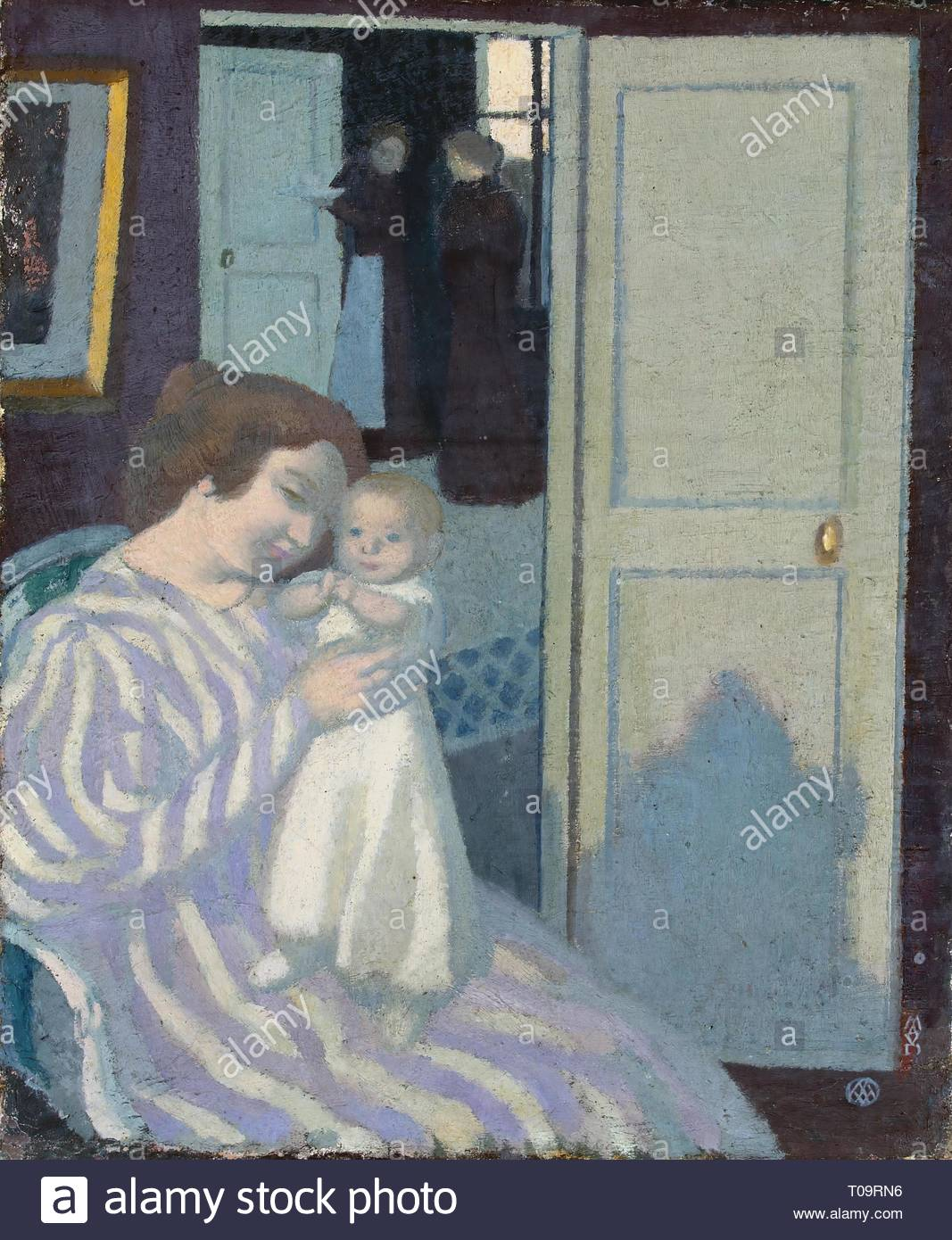 'Mother and Child'. France, 1895. Dimensions: 45x38,5 cm. Museum: State Hermitage, St. Petersburg. Author: MAURICE DENIS . Maurice Denis. - Stock Image