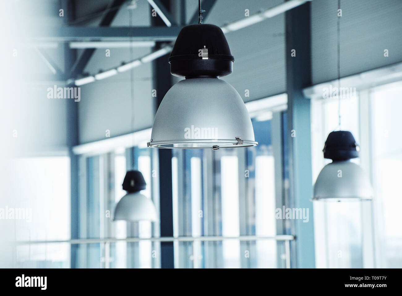 metal lighting fixtures with a shallow depth of field Stock Photo