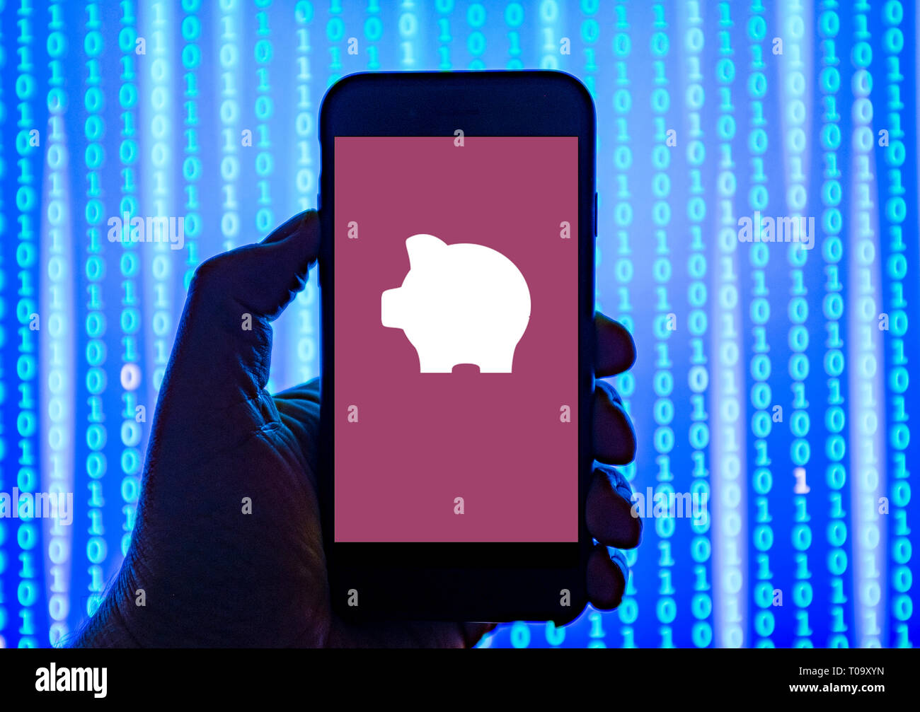 Person holding smart phone with PiggyBank pay-day liana's company   logo displayed on the screen. - Stock Image