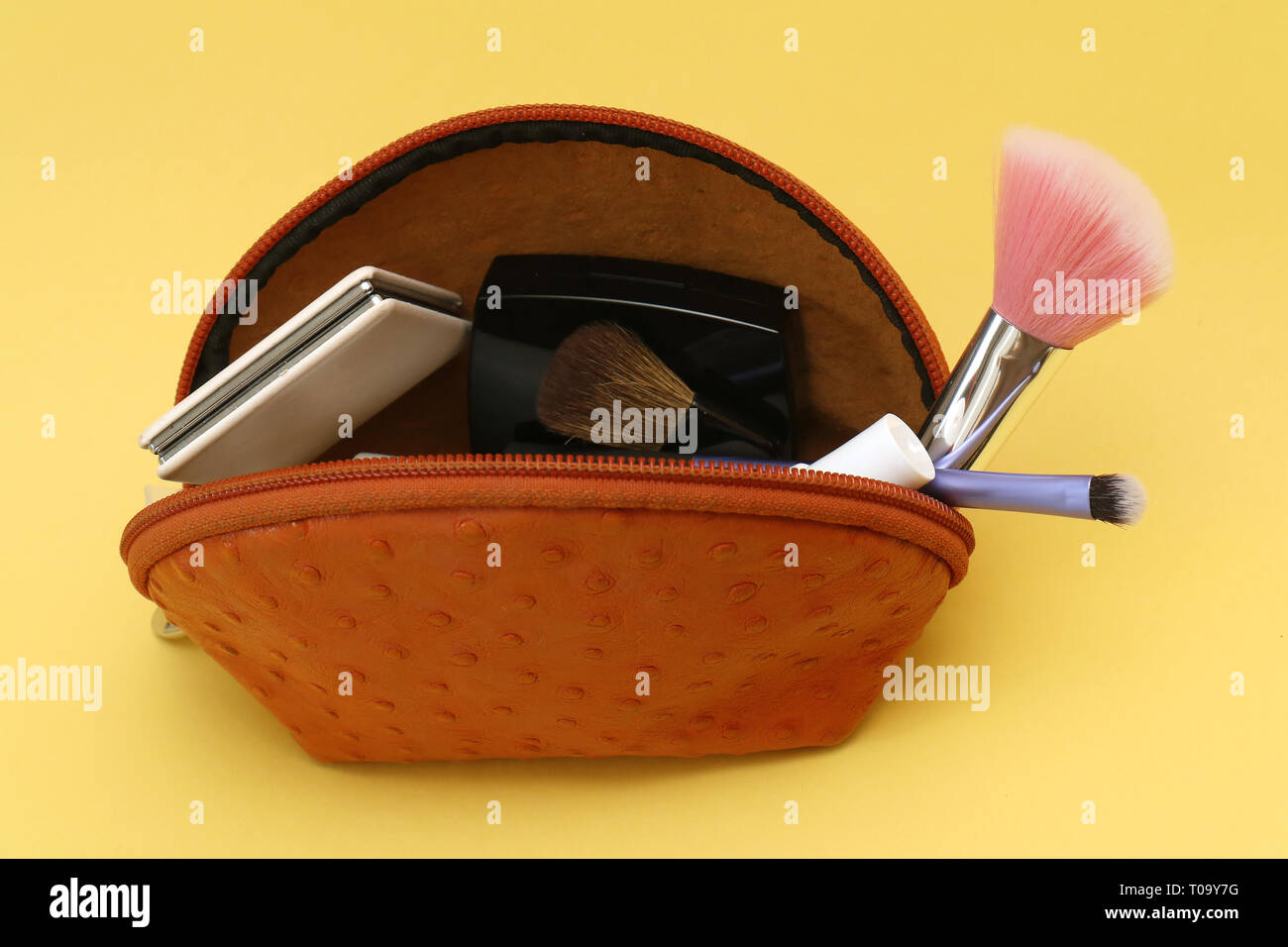 Small leather pouch with makeup and brushes accessories - Stock Image