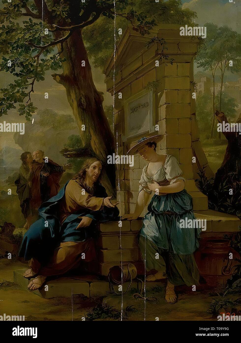 'Jesus and the Samaritan Woman at the Well'. Holland, Circa 1740. Dimensions: 52x39,5 cm. Museum: State Hermitage, St. Petersburg. Author: Nicolaes Verkolje. - Stock Image