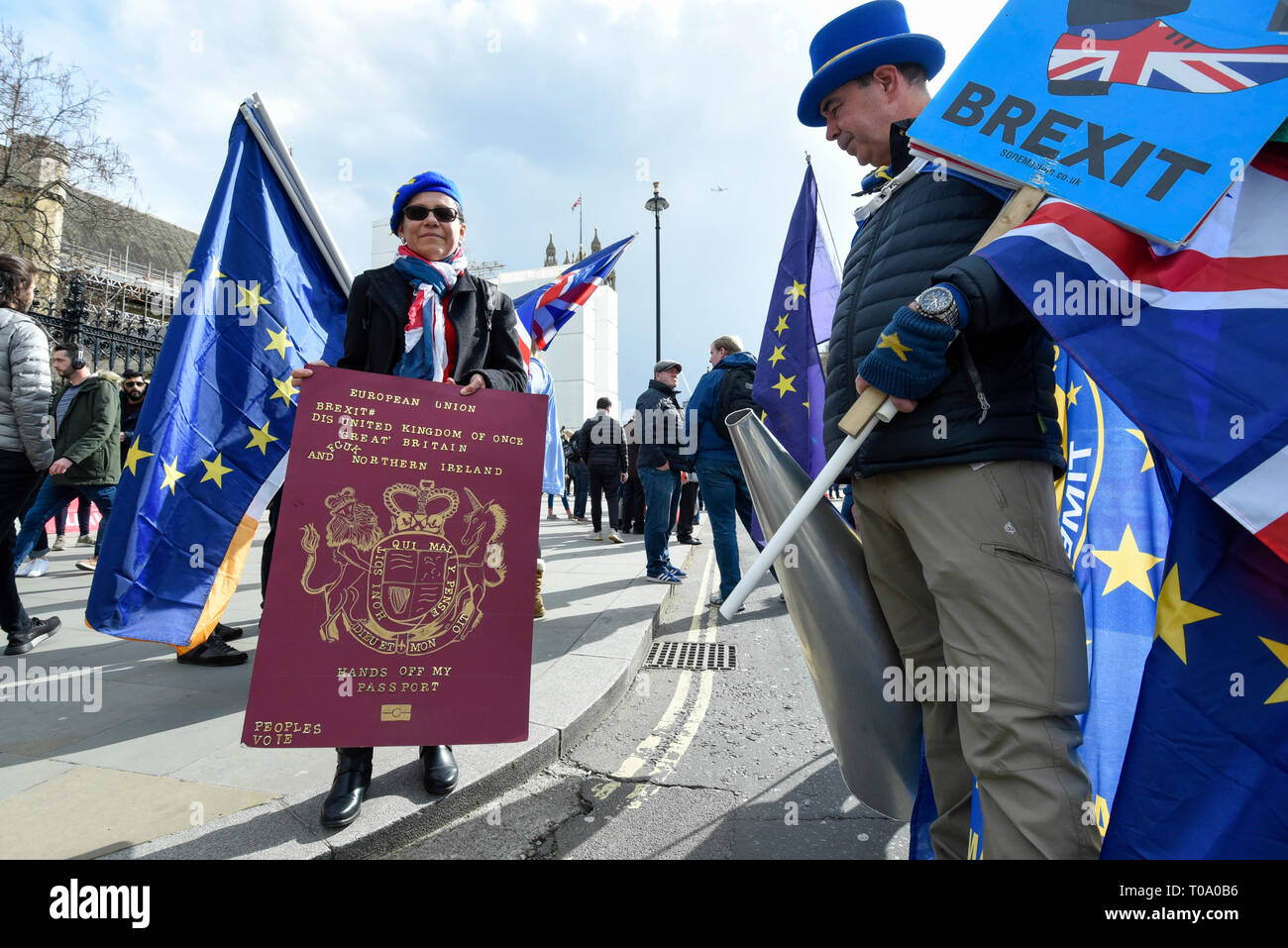 London, UK. 18th Mar, 2019. Remain protesters outside the Houses of Parliament. Theresa May, Prime Minister, is considering requesting the European Union for a long delay to article 50 if she determines that MPs will reject her Brexit deal in a meaningful vote for a third time. Credit: Stephen Chung/Alamy Live News - Stock Image