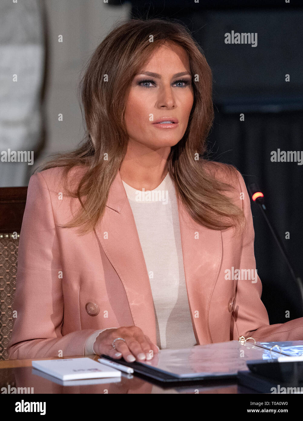 "Washington, USA. 18th Mar 2019. First lady Melania Trump hosts a meeting of the Interagency Working Group on Youth Programs in the State Dining Room of the White House in Washington, DC on Monday, March 18, 2019. The group was originally established under former United States President George W. Bush and is part of an effort to align the First Lady's ""Be Best"" initiative with the working group. Credit: Ron Sachs/CNP 