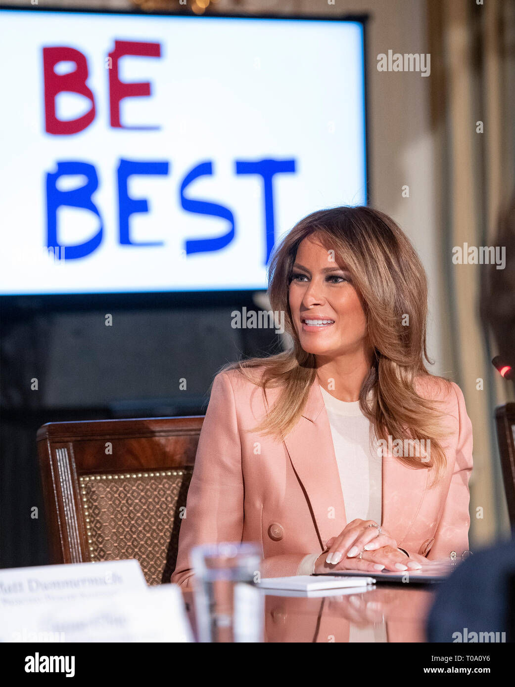 """First lady Melania Trump hosts a meeting of the Interagency Working Group on Youth Programs in the State Dining Room of the White House in Washington, DC on Monday, March 18, 2019. The group was originally established under former United States President George W. Bush and is part of an effort to align the First Lady's """"Be Best"""" initiative with the working group. Credit: Ron Sachs/CNP /MediaPunch Stock Photo"""