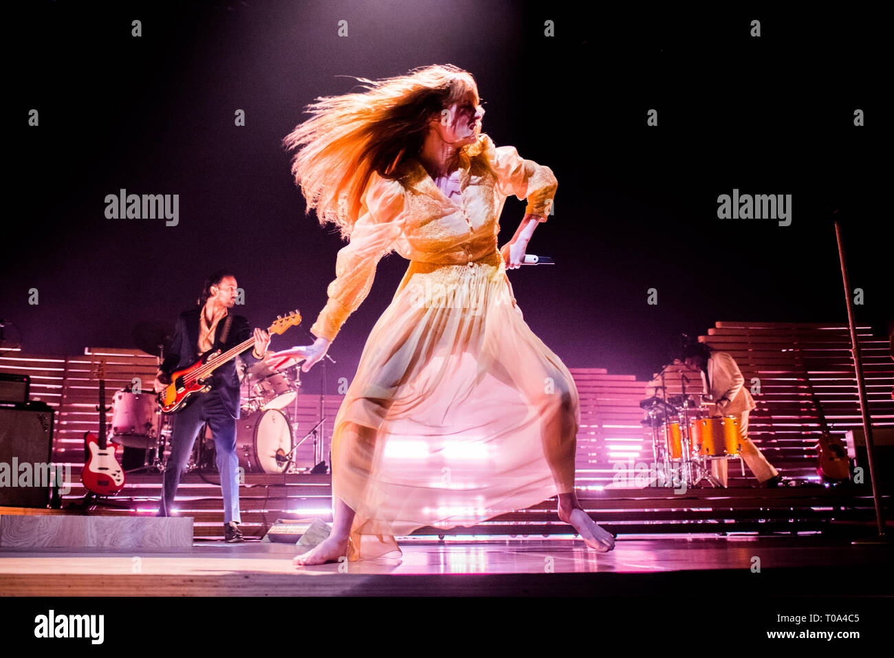 Torino, Italy. 18th Mar, 2019. The English musician, singer, songwriter, and producer Florence Leontine Mary Welch, better know simply as Florence Welch or Florence and the Machine, performing live on stage for her 'High As Hope' tour concert in Torino, at the Pala Alpitour Credit: Alessandro Bosio/Alamy Live News - Stock Image