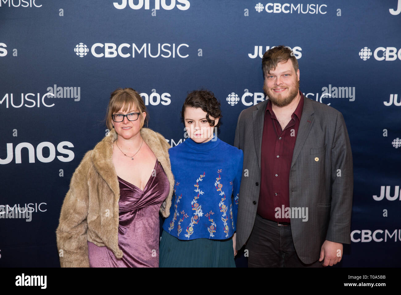 Budweiser Gardens, London, UK. 17th Mar 2019. Instrumental band Aerialists on the 2019 JUNO Awards red carpet at Budweiser Gardens, in London, Ontario, CANADA Credit: topconcertphoto/Alamy Live News - Stock Image