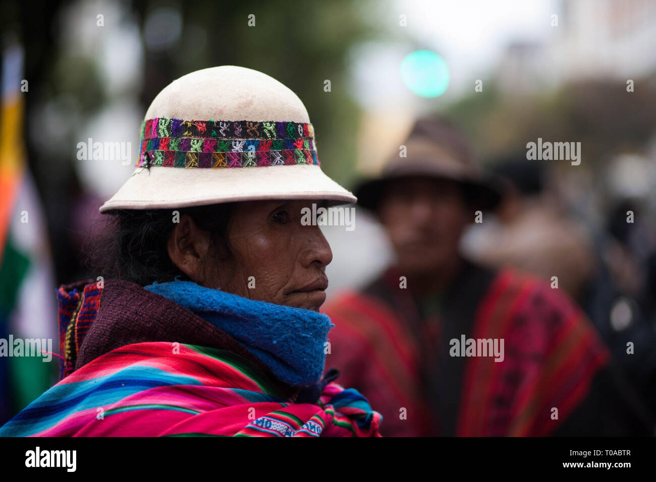 La Paz, Bolivia. 19th Mar 2019. After a 40-day trek, the Qhara Qhara nation march arrives in La Paz, demanding that their right to own t communal and ancestral lands be respected. ed. (Photo: Gaston Brito/Fotoarena) Credit: Foto Arena LTDA/Alamy Live News - Stock Image