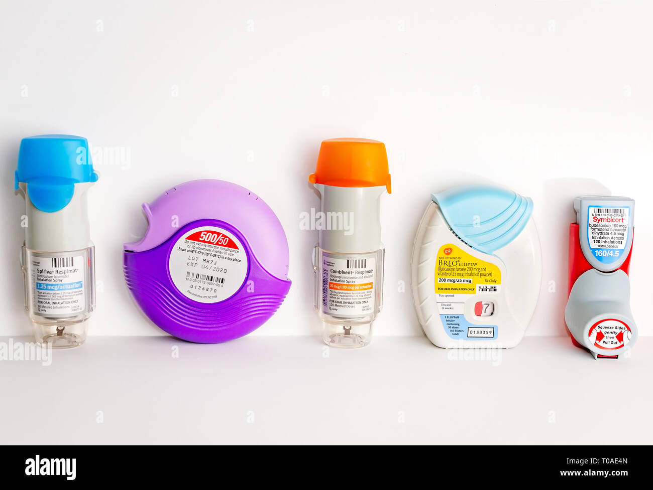 Some Of The Most Popular Metered Asthma And Copd Inhalers Are Pictured On White Including Spiriva Advair Combivent Breo And Symbicort Stock Photo Alamy