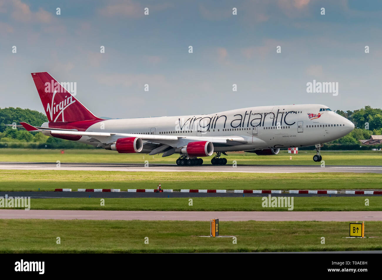 Virgin Atlantic Boeing 747 Barbarella at Manchester airport. - Stock Image