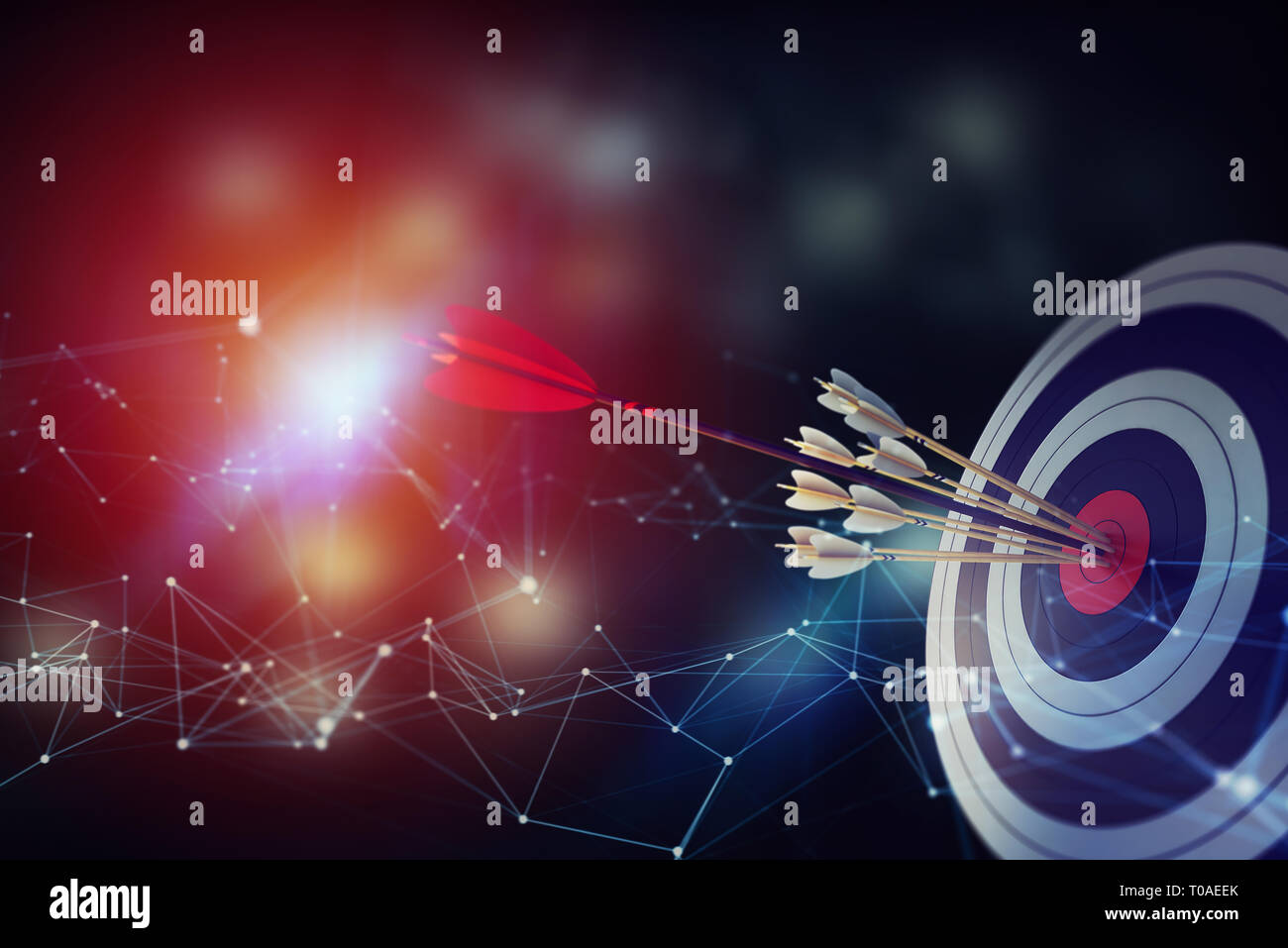 Arrow hit the center of target on abstract background with network effects. Business target achievement concept. 3D Rendering - Stock Image