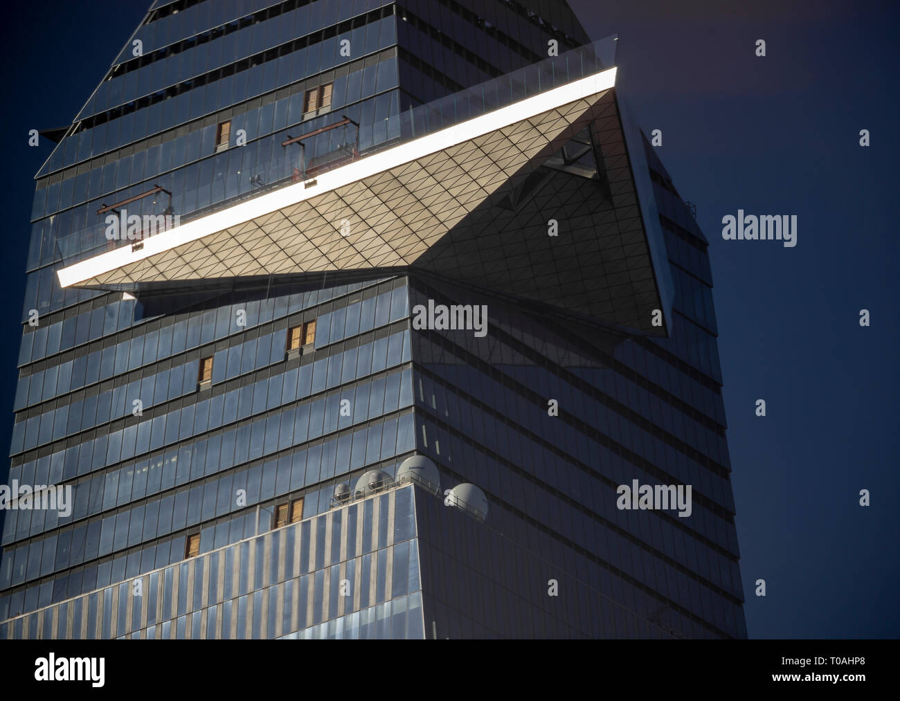 "30 Hudson Yards showing the cantilevered observation deck called ""The Edge"", in New York on Sunday, March 17, 2019. (© Richard B. Levine) Stock Photo"