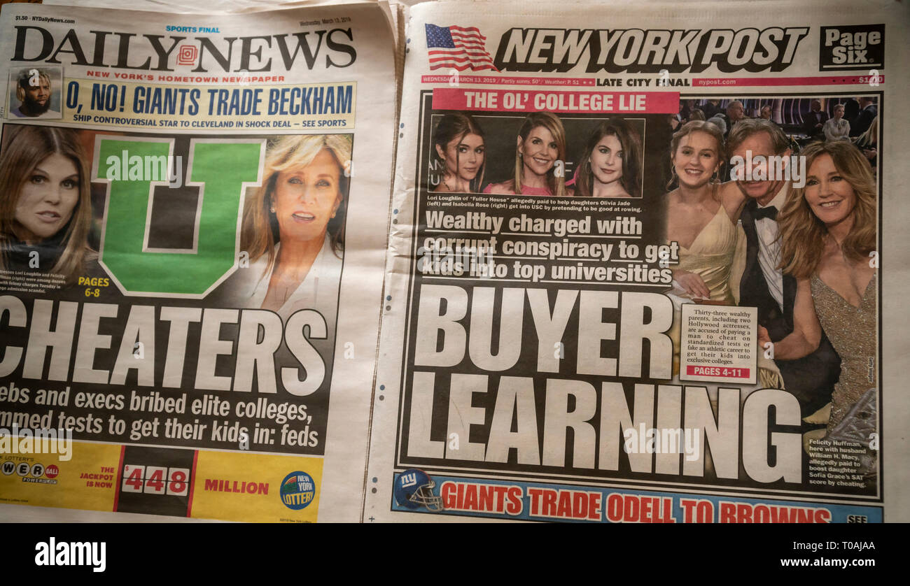 Headlines of New York newspapers on Wednesday, March 13, 2019 rport on the college admissions scandal where wealthy parents paid to get their children admitted to prestigious schools bypassing academic or athletic requirements. (© Richard B. Levine) - Stock Image
