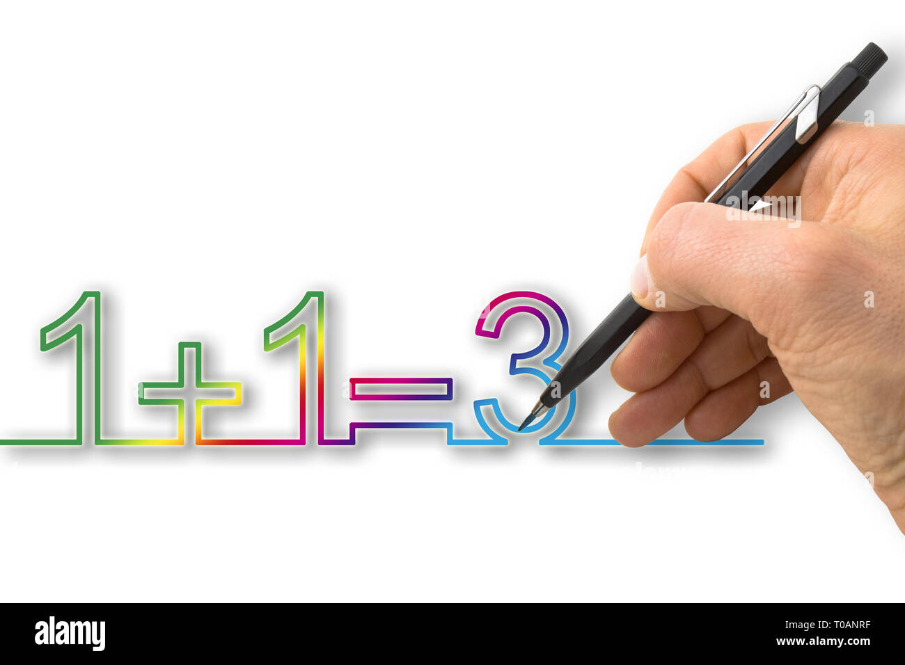 """A hand draws """"one plus one equals three"""" - concept image Stock Photo"""