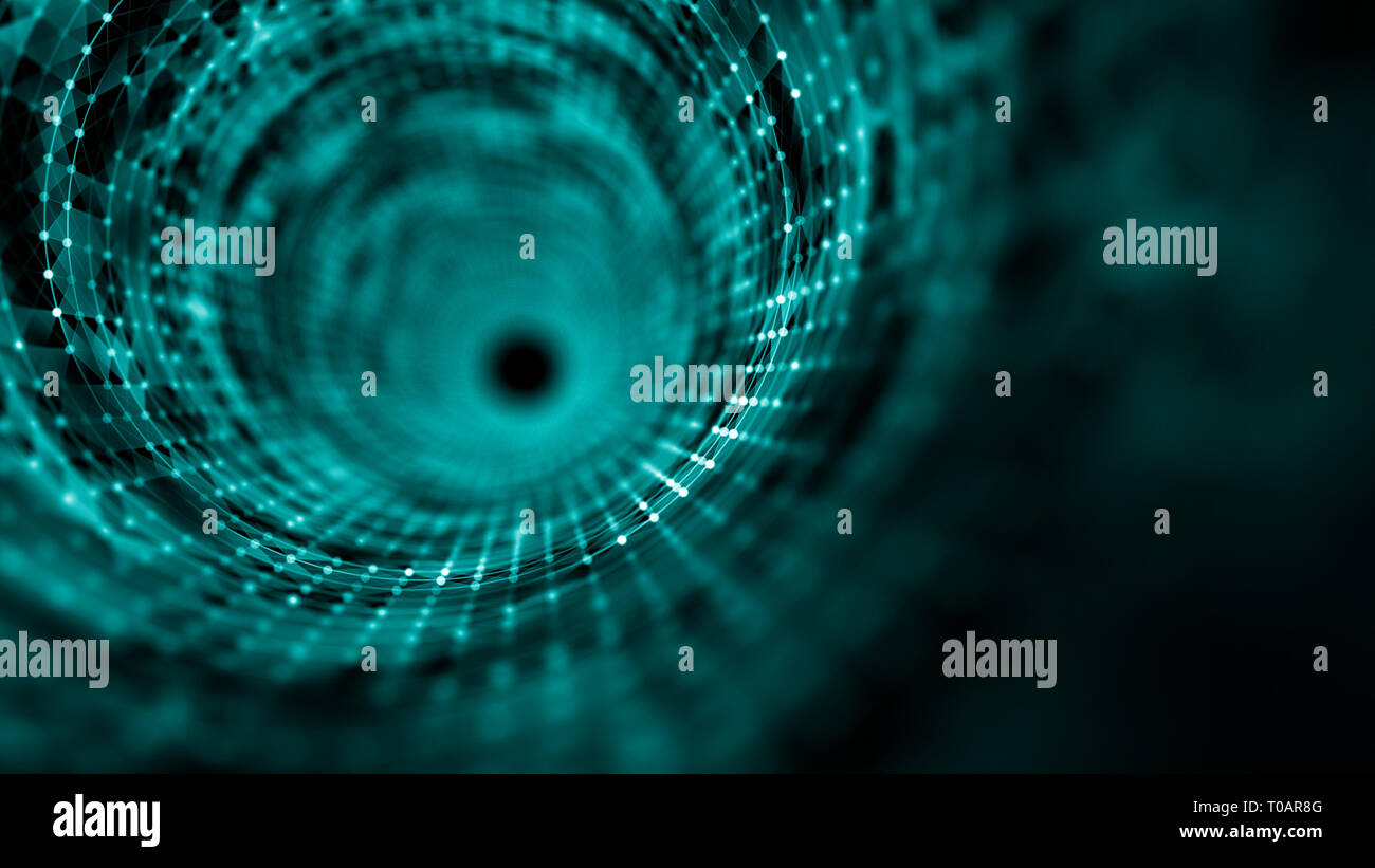 Time tunnel, computer generated abstract fractal background - Stock Image
