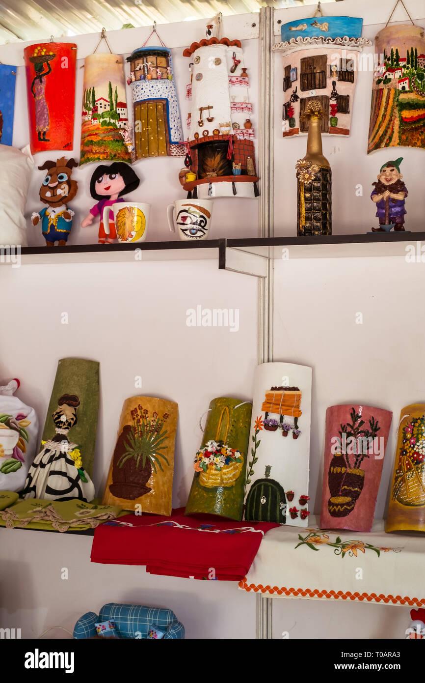Malaga, Spain - May 18, 2018. Handicraft store with Spanish souvenir in Malaga city, Spain. Stock Photo