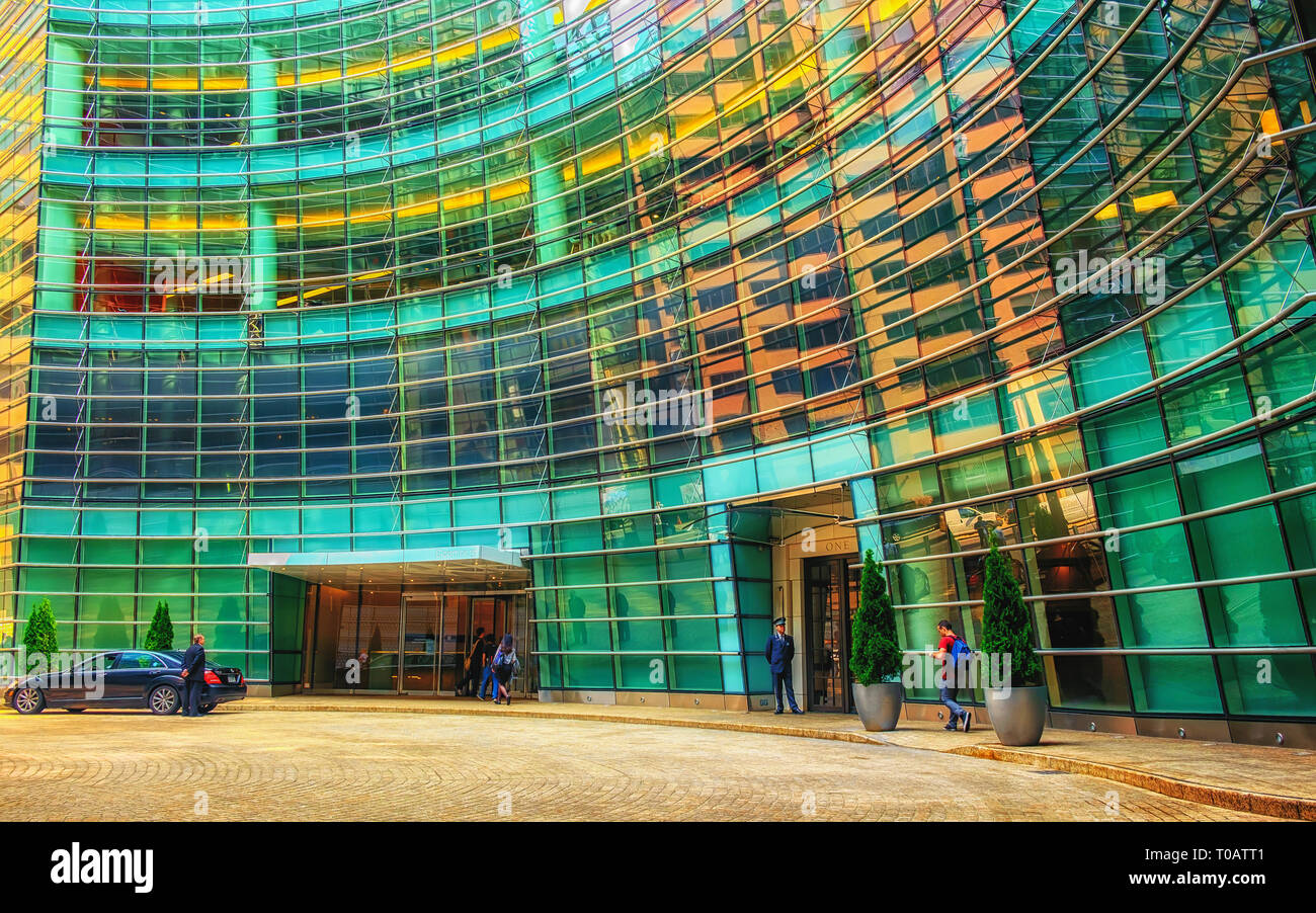 New York City, U.S.A, May 2018, Bloomberg headquarters building entrance, Manhattan - Stock Image