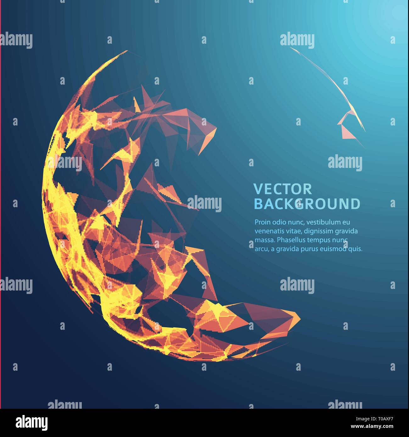 Low poly fire flame sphere. Futuristic energy circle. - Stock Image