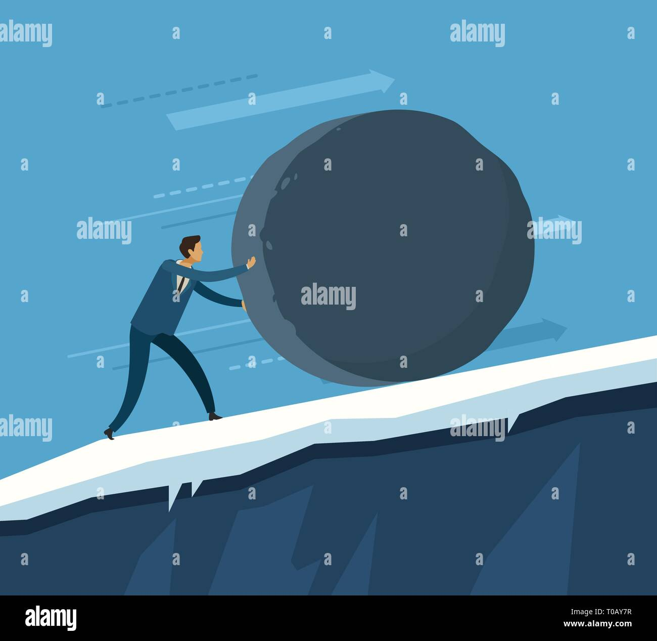 Man rolls a huge boulder up the mountain. Vector illustration - Stock Vector