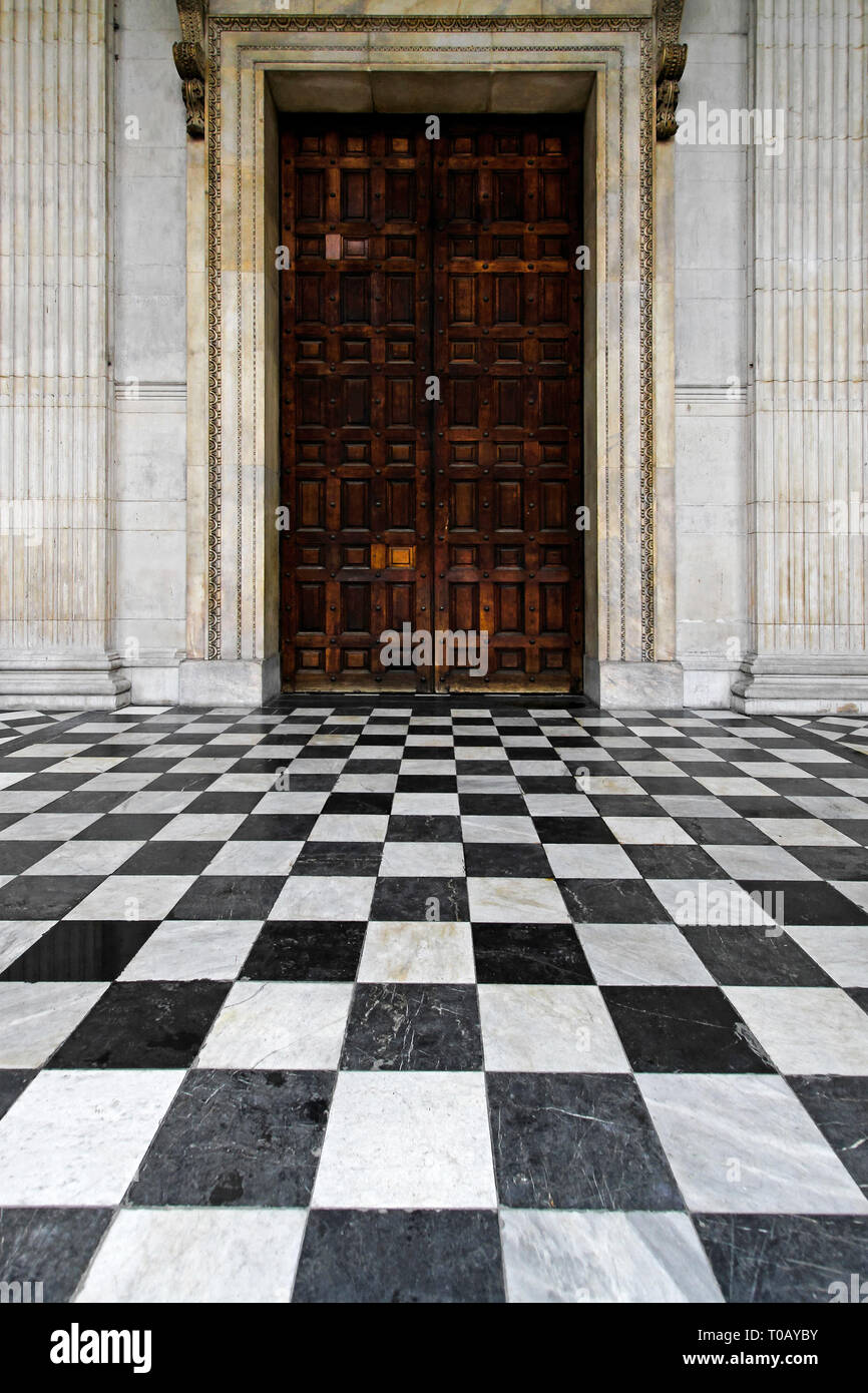 Black White Checkered Floor Tiles Stock Photos Black White