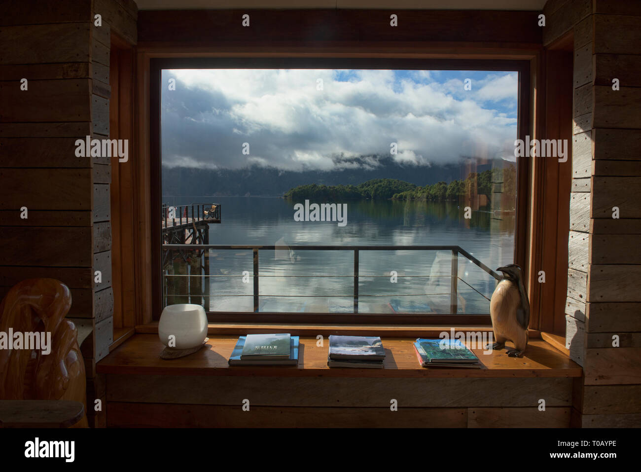 View of the fiord, Puyuhuapi Lodge, Patagonia, Aysen, Chile - Stock Image