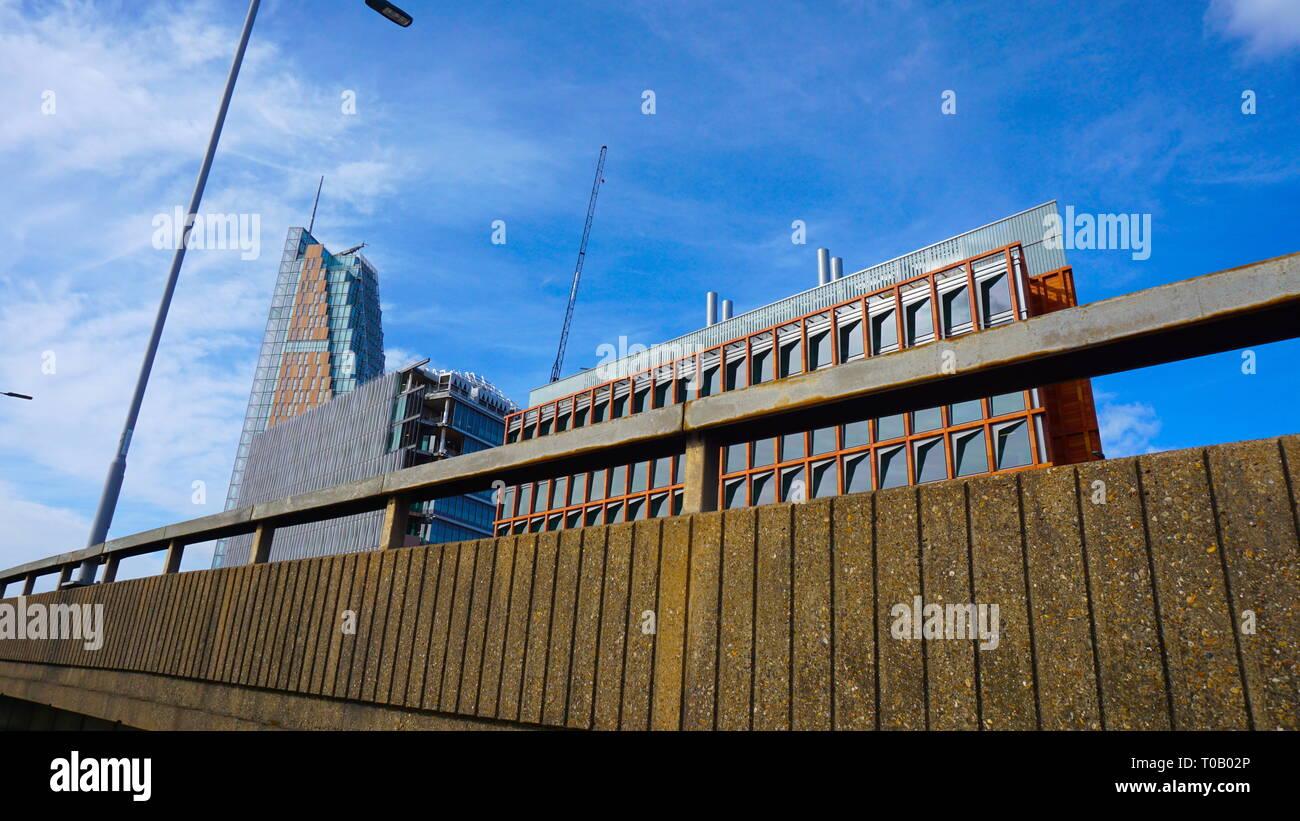 View of sky scraper building from a bridge in London, United Kingdom - Stock Image