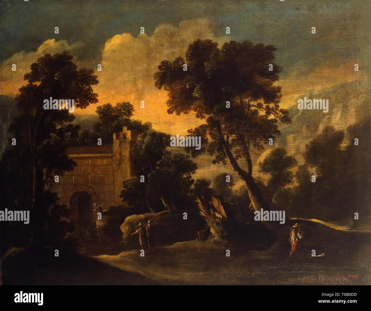 'Landscape with Ruins'. Spain, Circa 1634. Dimensions: 87,5x111,5 cm. Museum: State Hermitage, St. Petersburg. Author: Francisco Collantes (? ). Francisco Collantes. - Stock Image