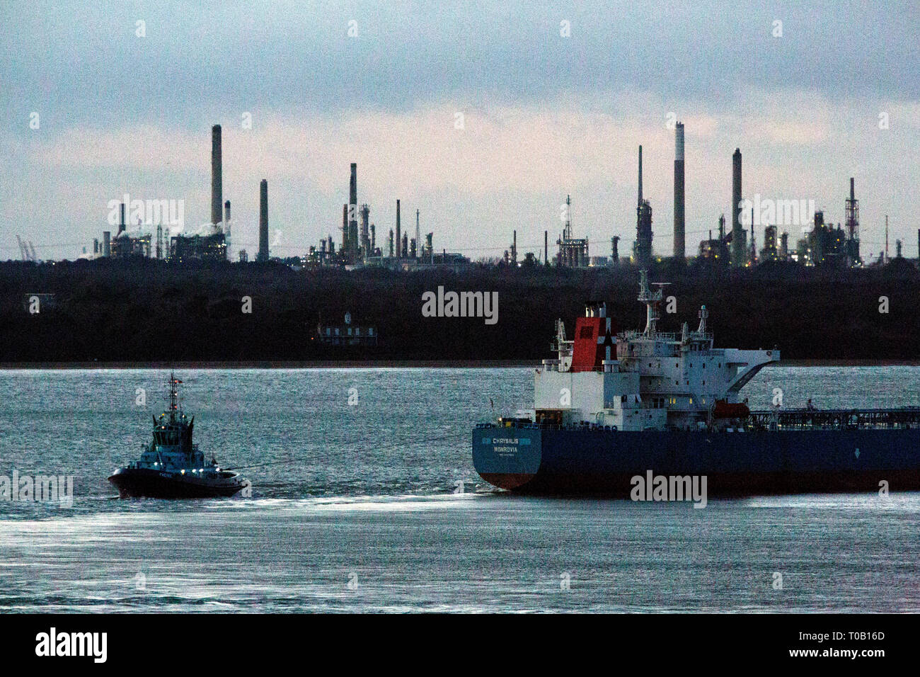 Chrysalis,Monrovia,Oil.Tanker, Fawley,Oil,Refinery,The Solent,heading,Southampton,Container Terminal,Cowes,Isle of Wight,Hampshire,England,UK, - Stock Image