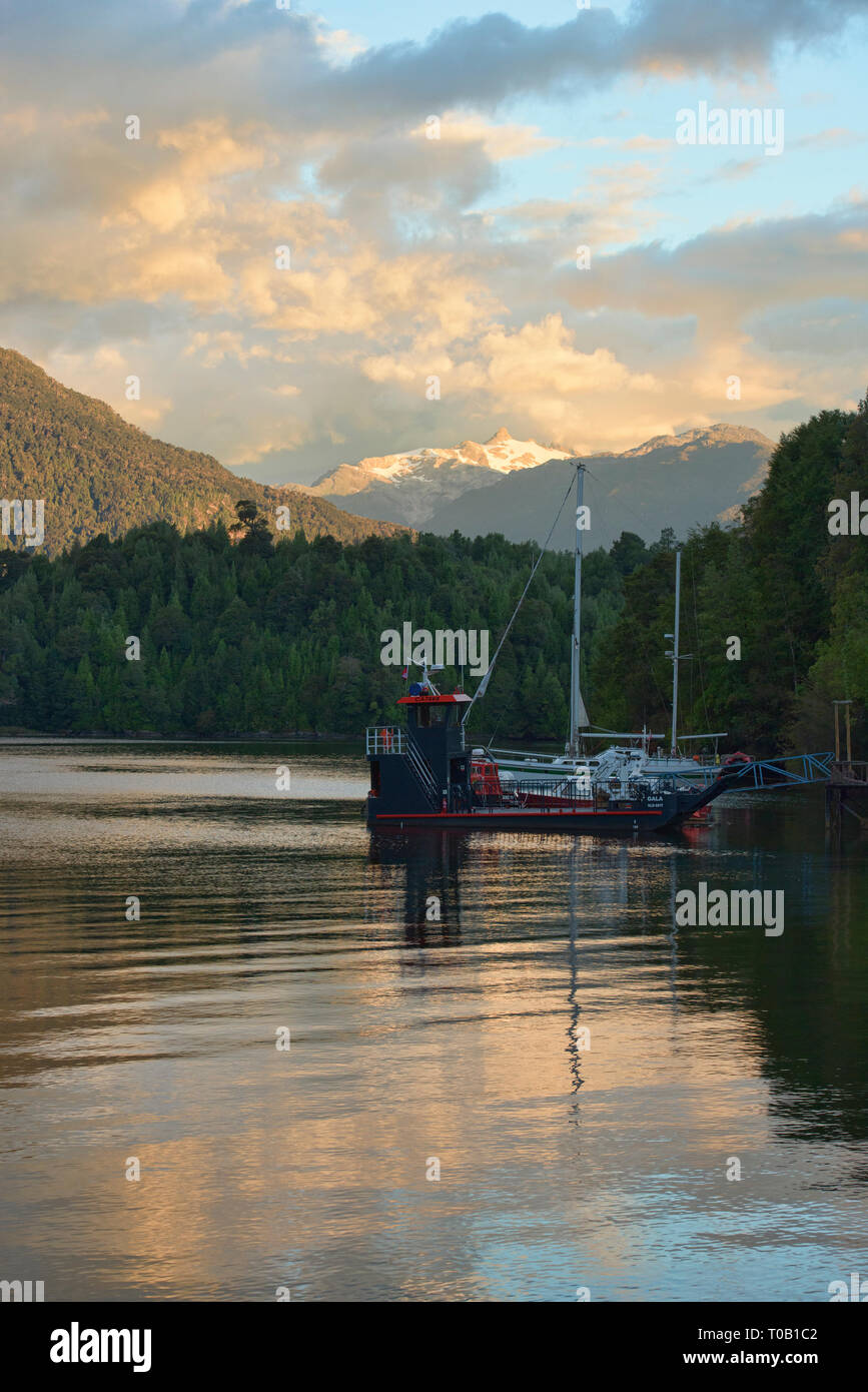 View of Nevado Queulat and Puyuhuapi fiord, Patagonia, Aysen, Chile Stock Photo