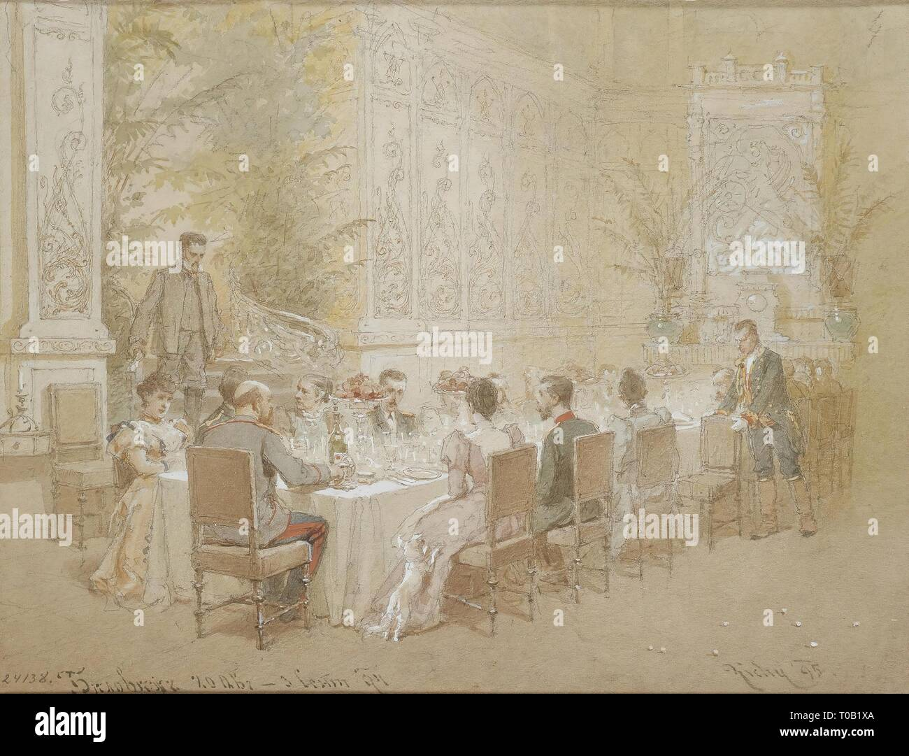 """'""""Dinner at the Belovezh Hunting Lodge in Late August 1894""""'. Series """"The Royal Hunt of Emperor Alexander III in the Belovezh Pushcha, 20th August - 3rd September 1894"""". Russia, 1895. Dimensions: 23,5x30,5 cm. Museum: State Hermitage, St. Petersburg. Author: MIHALY VON ZICHY. Stock Photo"""