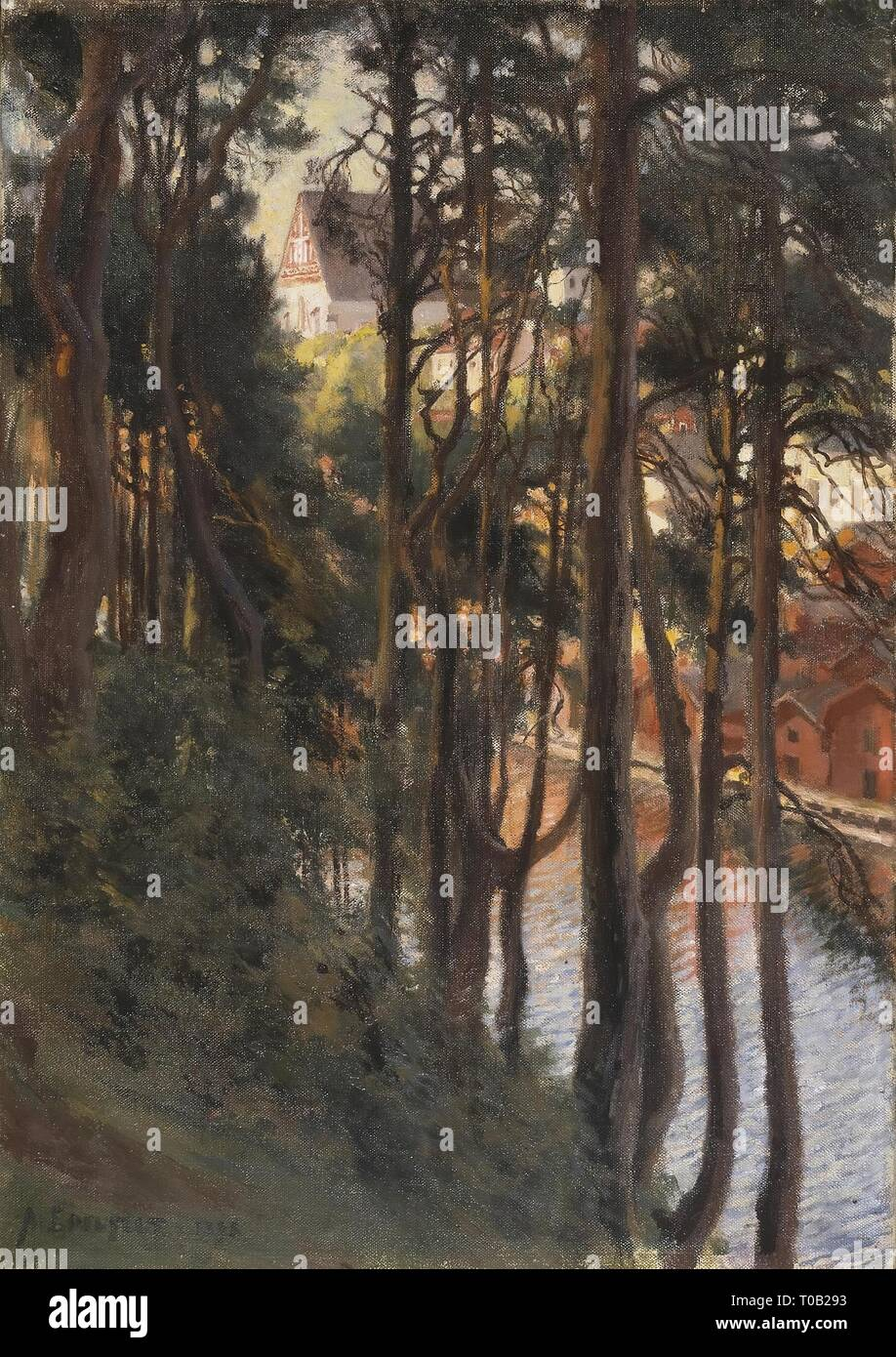 'View of Porvoo from Nasinmaki'. Finland, 1898. Dimensions: 64x45 cm. Museum: State Hermitage, St. Petersburg. Author: Albert Edelfelt (Gustaf Aristides). Stock Photo