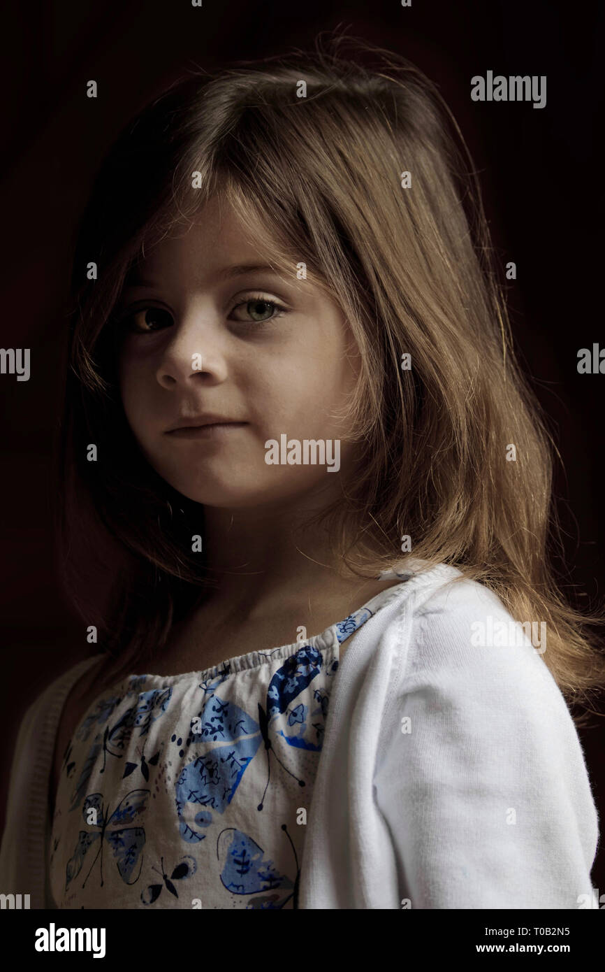 Portrait of a young girl (my daughter Seren) Stock Photo