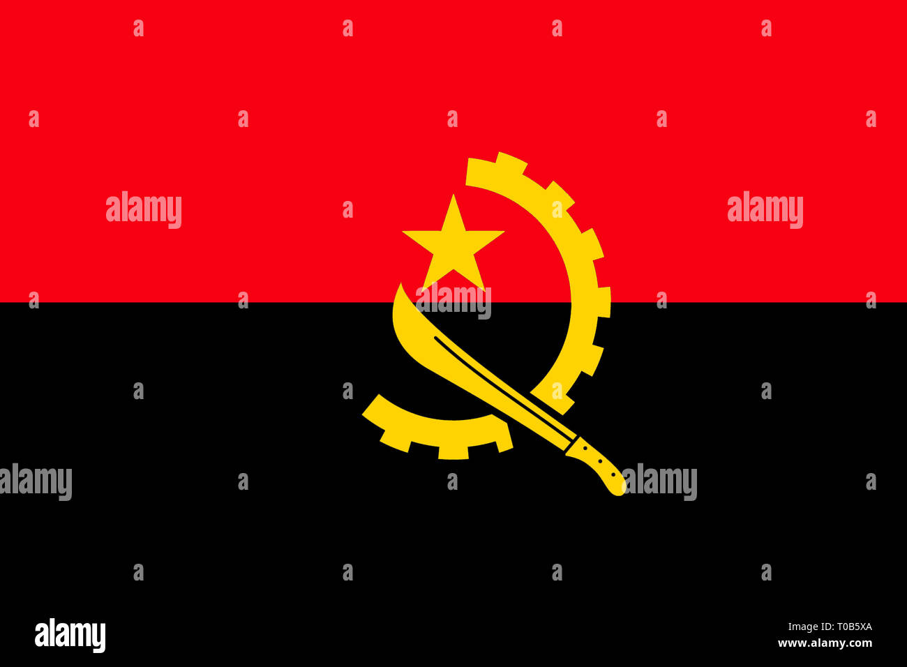 National flag of the Republic of Angola. - Stock Image