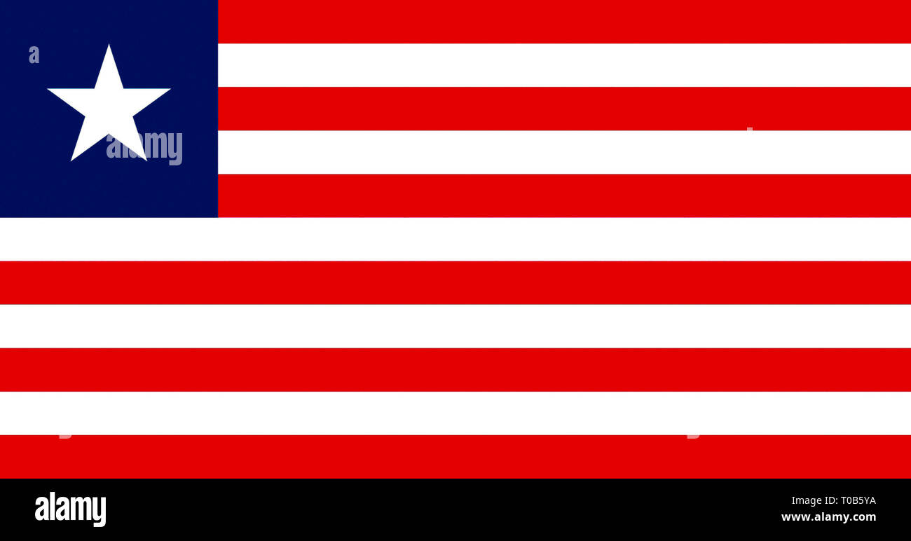 National flag of the Republic of Liberia. - Stock Image