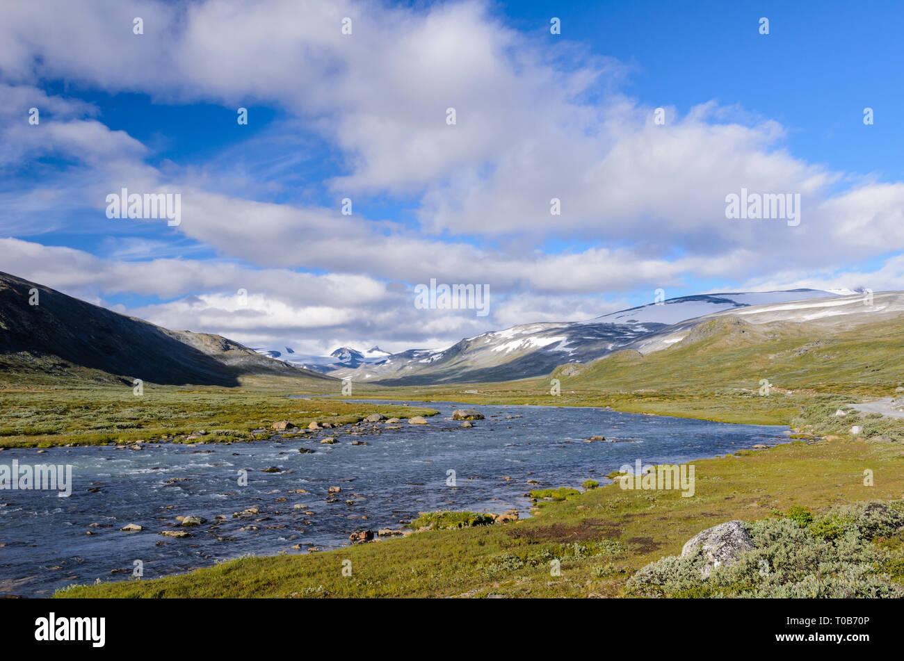 Norwegian fjaeldmark in the Jotunheimen national park - Stock Image