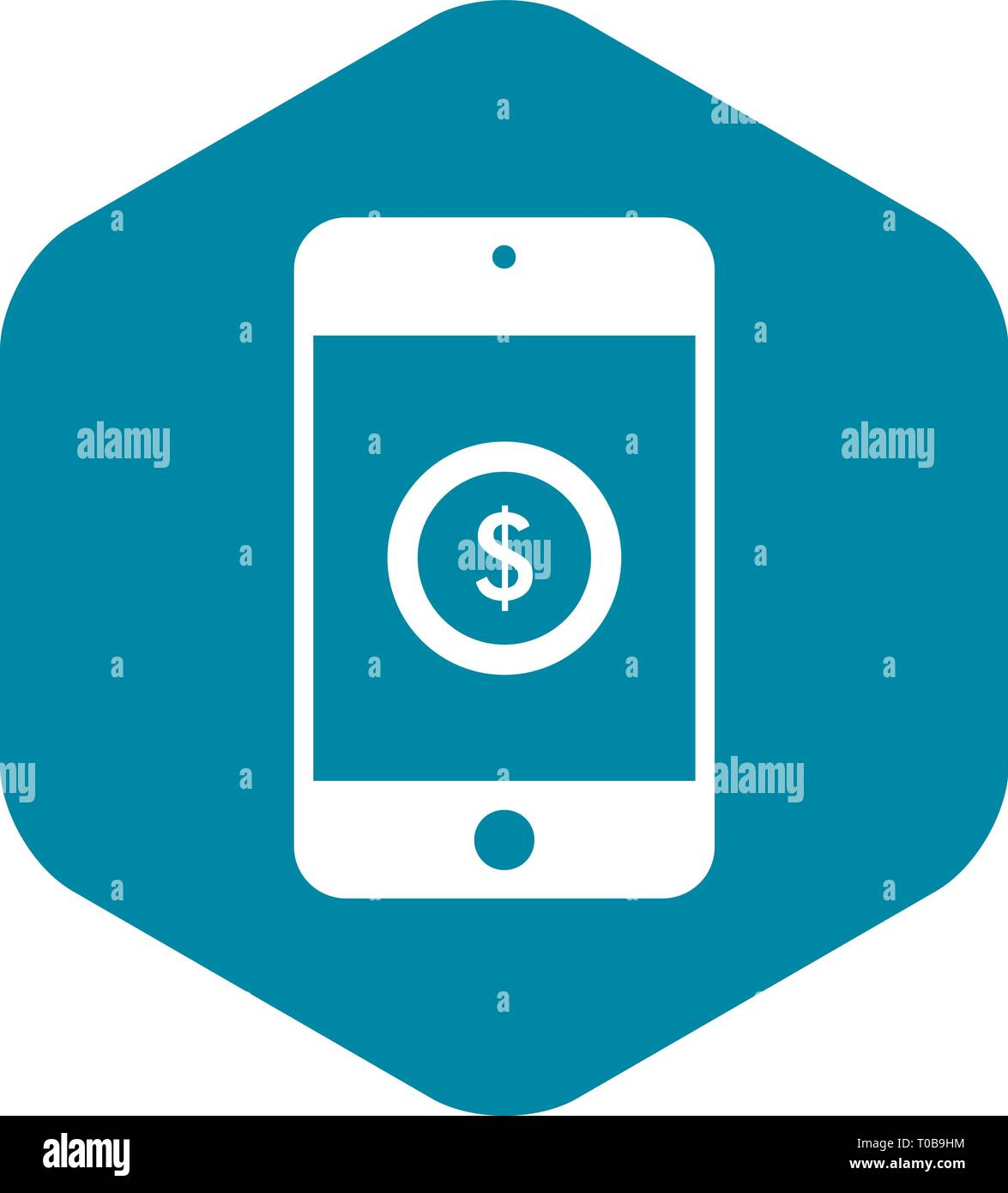 Smartphone with dollar sign on display icon - Stock Vector