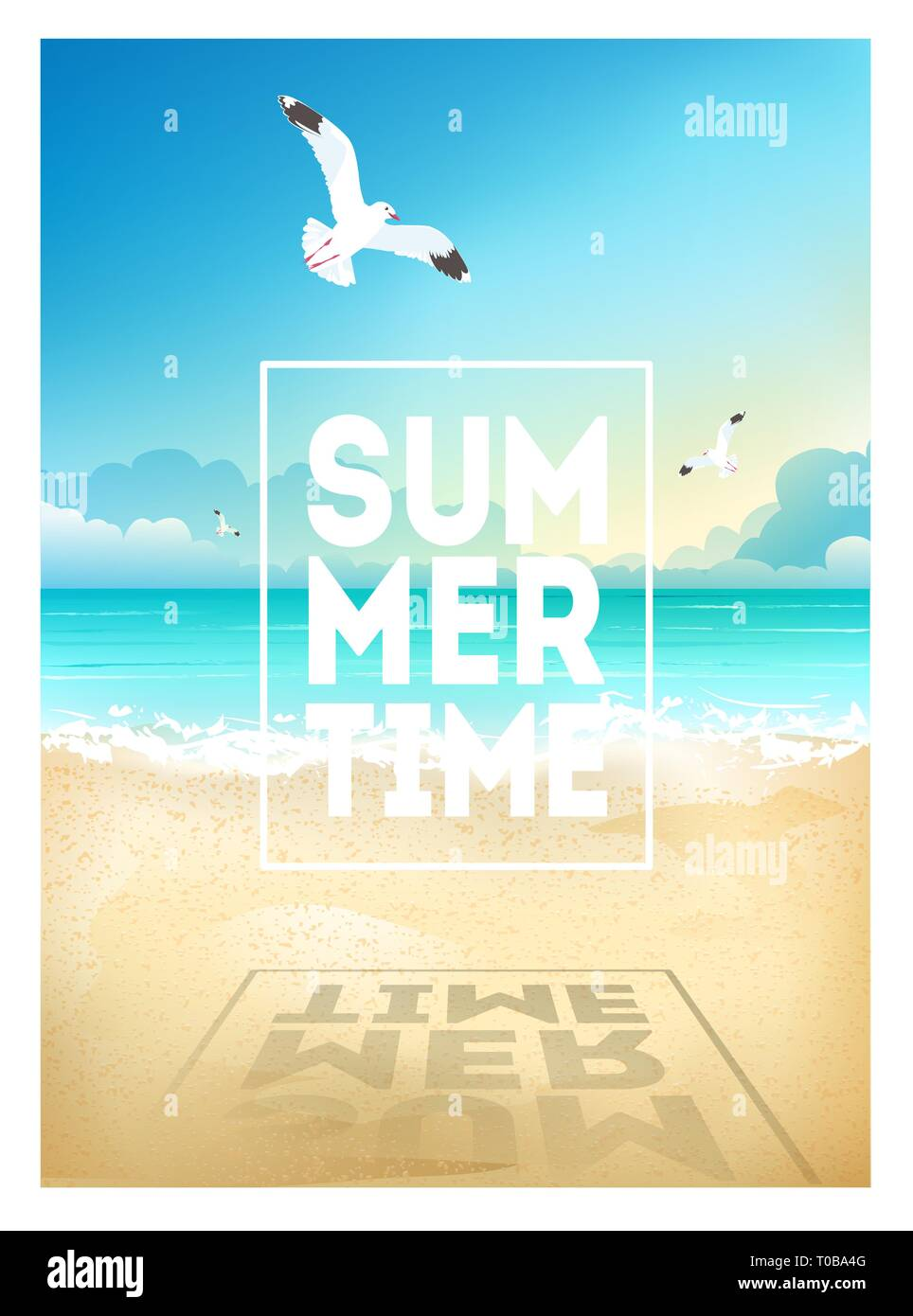 Summer beach background with sea, sky, seagulls and sunrise. Summer placard poster flyer invitation card. Summertime. - Stock Vector