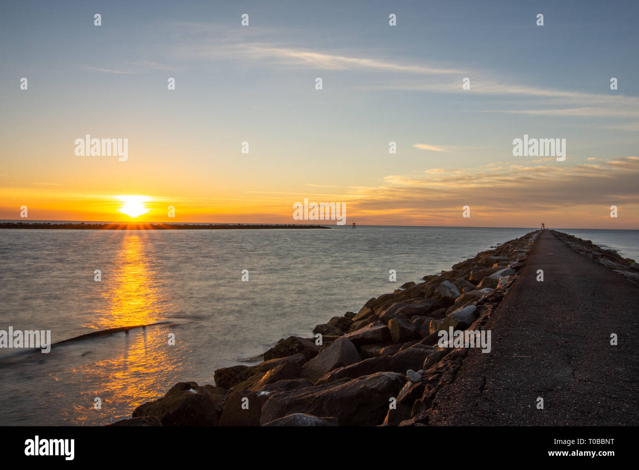 Sunrise at Huntington beach state park - Stock Image