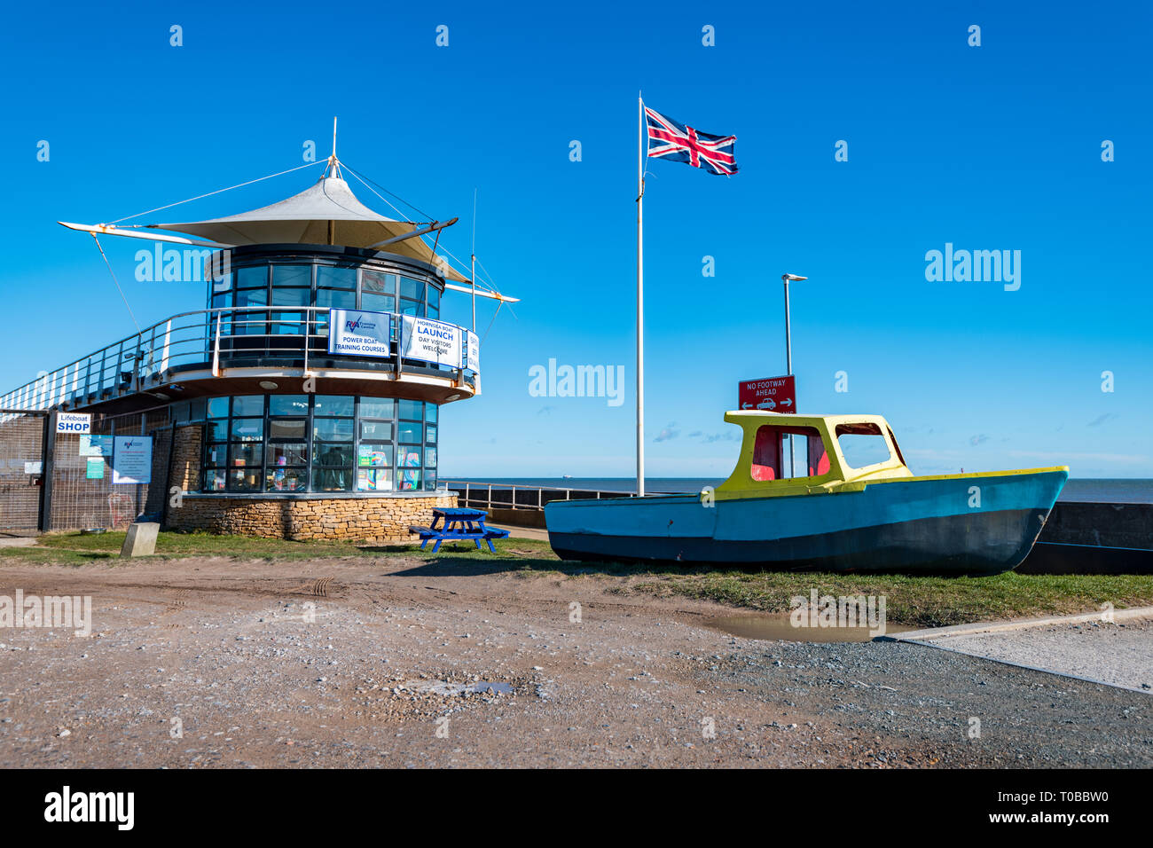 HORNSEA, UK - 17TH MARCH 2018: Hornsea Inshore Lifeboat Rescue building along the seafront - East Yorkshire, Uk - Stock Image