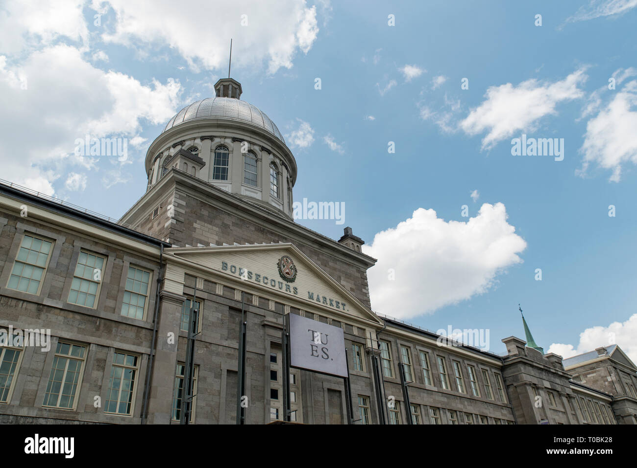 Montreal, Quebec, Canada.  Bonsecours Market as viewed from Rue de la Commune East in Old Montreal, oblique view. - Stock Image
