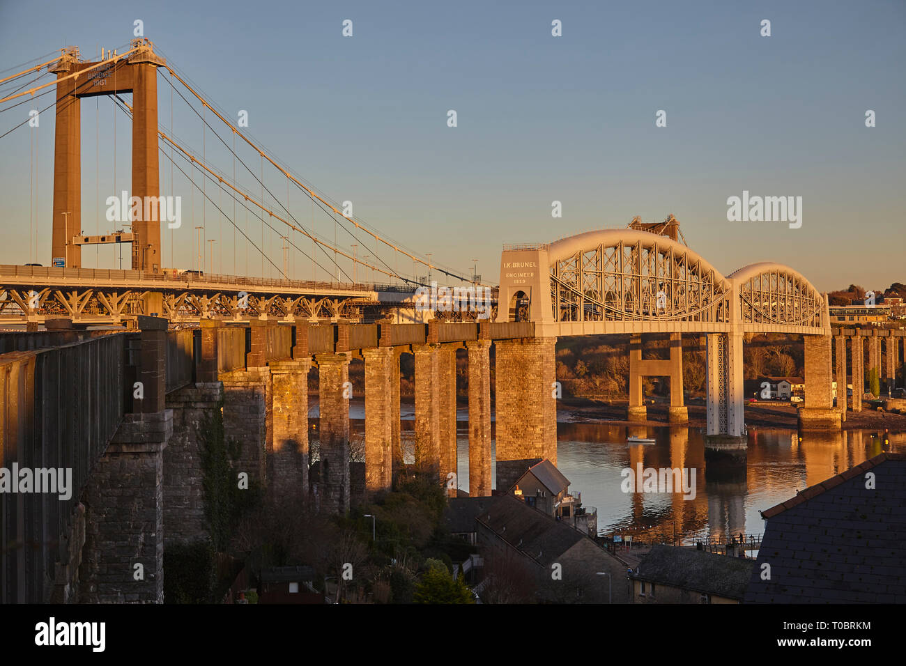 A dusk view of the Tamar Bridges, across the Hamoaze, estuary of the River Tamar, linking Plymouth in Devon and Saltash in Cornwall, Great Britain. Stock Photo