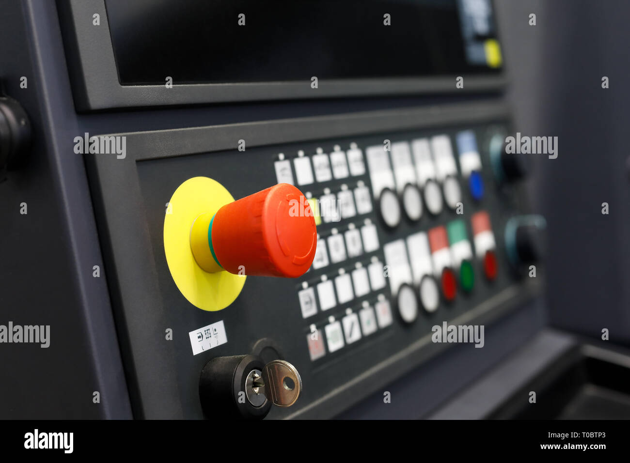 Control panel of metalworking CNC-operated machine. Selective focus. - Stock Image