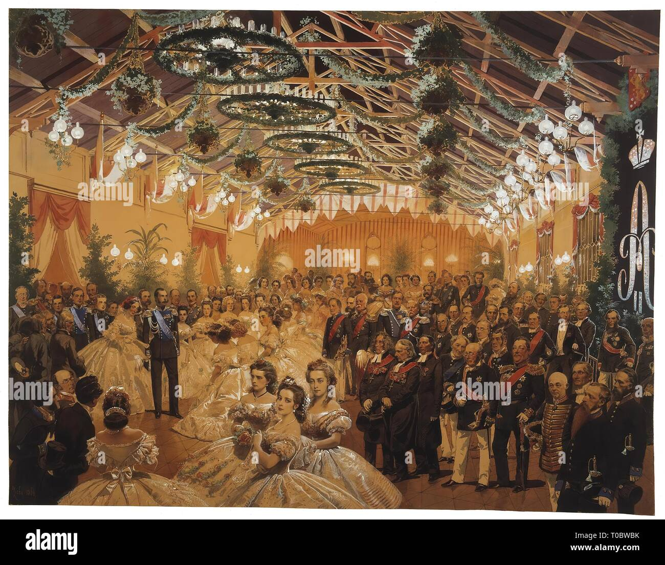 'Ball in Honour of Alexander II Arranged in Helsingfors in September 1863 on the Premises of the Railway Station'. Hungary-Russia, 1864. Dimensions: 47,5x61,5 cm. Museum: State Hermitage, St. Petersburg. Author: MIHALY VON ZICHY . MIHALY ZICHY. - Stock Image