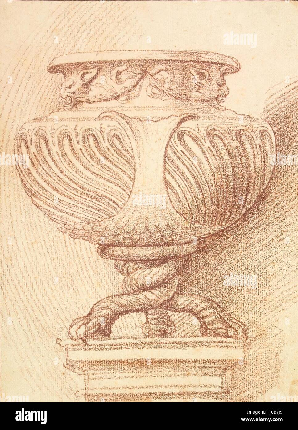 'Vase on Three Twisted Legs Shaped like Paws'. France, Circa 1740. Dimensions: 25,2x18,6 cm. Museum: State Hermitage, St. Petersburg. Author: EDME BOUCHARDON. - Stock Image