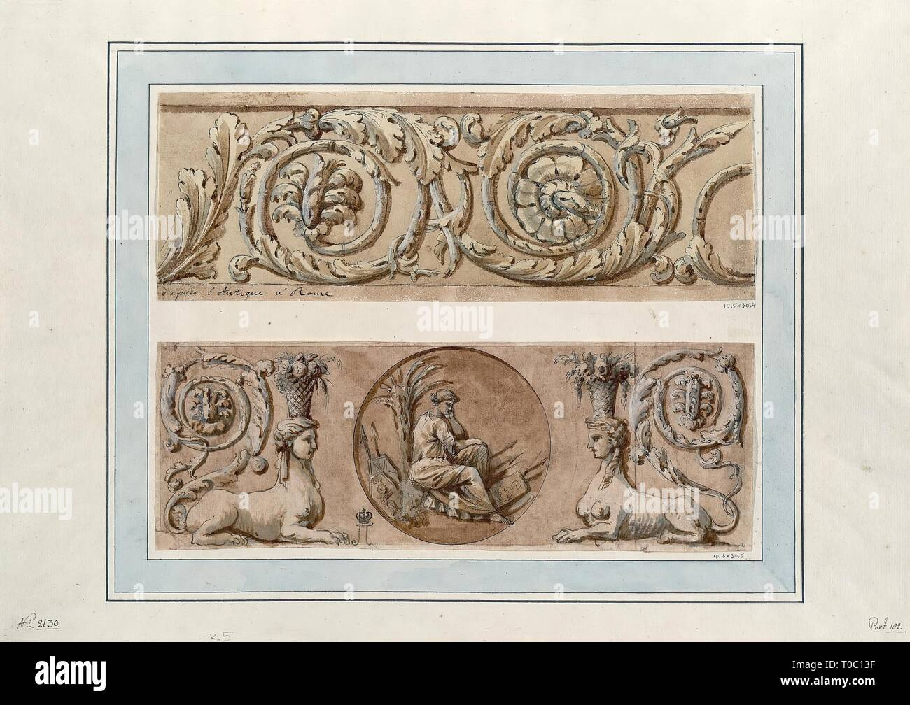 'Acanthus Whorl and Plafond Fragment'. France, 1760s. Dimensions: 10,5x30,4 cm; 10,6x30,5 cm. Museum: State Hermitage, St. Petersburg. Author: CHARLES-LOUIS CLERISSEAU. Stock Photo