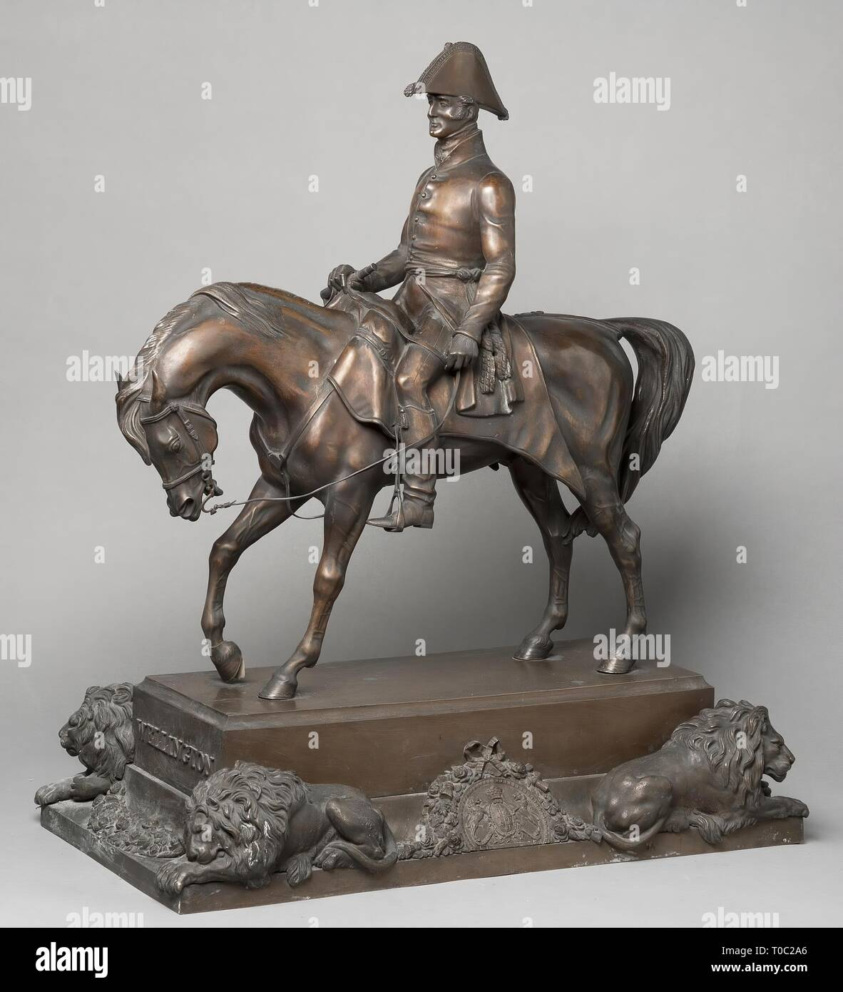 'Equestrian Statue of A. Wellesley, 1st Duke of Wellington'. Russia, 1846. Dimensions: 82x71 cm. Museum: State Hermitage, St. Petersburg. Author: Alfred D'Orsay. - Stock Image